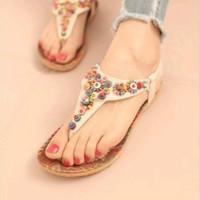 Free Shipping Wholesale 2013 flip female shoes flip-flop flat beaded bohemia female flat heel sandals