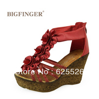Artificial leather women's wedges shoes sandals ultra high heels bohemia flower wedges platform high-heeled shoes