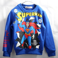 New fashion children's sweatshirts thermal quality o-neck long-sleeve loop pile super man hero sweatshirt baby child sweatshirt