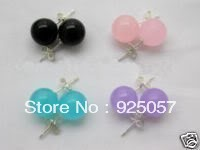 4pair 10mm black agate pink blue purple jade earrings Fashion jewelry