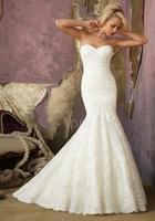 Lace Mermaid Sweetheart Natural Waist Floor Length Sleeveless Wedding Gown