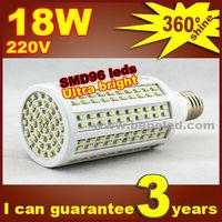 Free shipping BOPO Ultra bright LED bulb 18W E27 220V Cold White light LED corn lamp with SMD 96 leds 360 degree Spot light