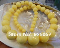 """8-18mm Yellow Sea Coral   Round Beads Necklace 18.5"""" Magnet claspFashion jewelry"""