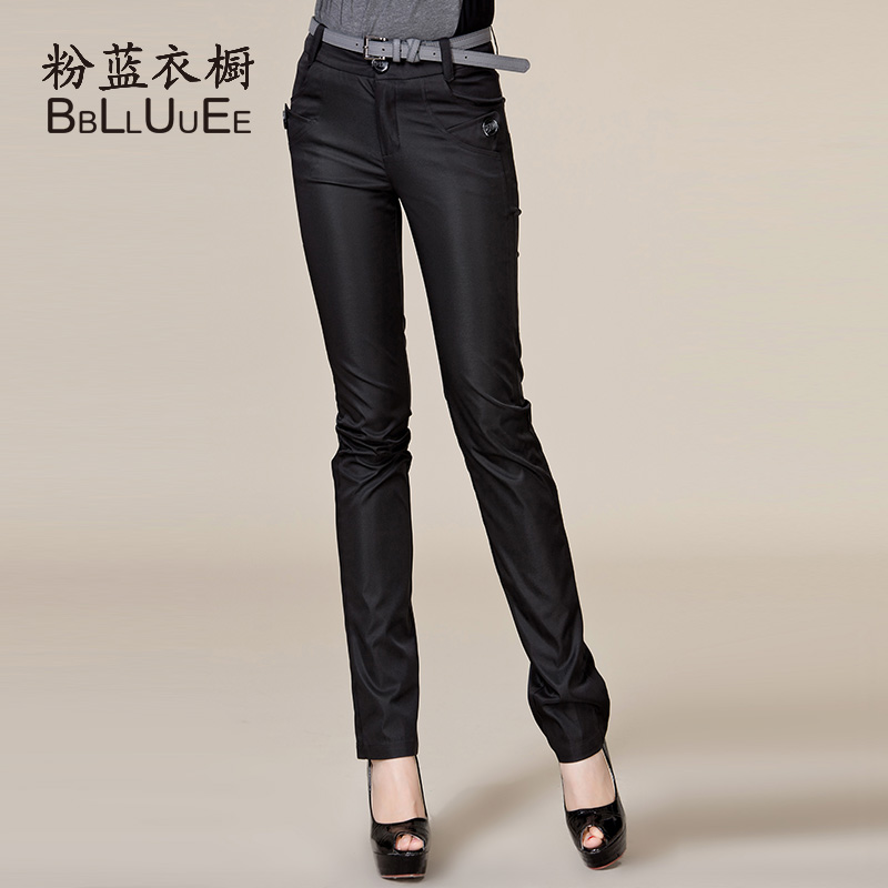 Wardrobe 2013 spring new arrival trousers all-match black formal ol mid waist slim straight pants female(China (Mainland))