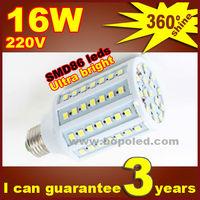 Free shipping BOPO Ultra bright LED bulb 16W E27 220V Cold White light LED corn lamp with SMD 86 leds 360 degree Spot light