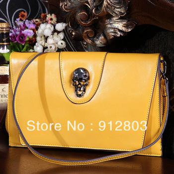2013 Autumn Summer Fashion Women's GENUINE LEATHE Cowhide Handbag, Lady Messenger Envelope Stylish Evening Bag, Free Shipping