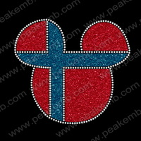 New Arrival Free Shipping 30pcs/Lot Minnie Mouse Head Glitter Transfer Iron On Hotfix  Motif  Design For Garments