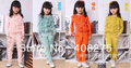 Fashionable Girl Sets Retail Child Clothing suit baby girls long sleeves Lace set Chiffon jacket+pants 2pieces 4 candy colors