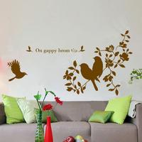 Acacia bird branches lovebird beijingqiang glass stickers 4039