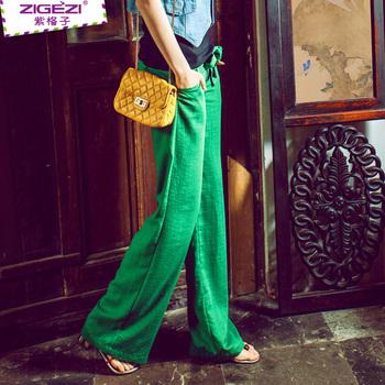 Women Summer Thin Cool Linen pants, wide leg trousers fashion fluid casual pants ...