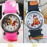 Free shopping !2pcs 3D cartoon Tom and Jerry Garfield quartz watch birthday party XMAS gift C04/C31