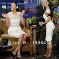 Hot Kim Kardashian Round Neck Short Sleeves Flowers Elegant Knee Length Celebrity Dresses Gowns