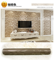 On sales flock printing Acanthus leaf  design fashion tv background  wallpaper home wall decoration brown silver color