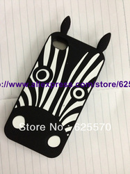 New Fashion Cute Cartoon 3D Zebra Silicone Soft Skin Back Cover case For Iphone 4 4S 4G,1pc/lot by china post airmail(China (Mainland))