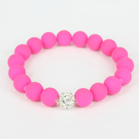 Lead and Nickel Free Fashion Jewelry Bracelet Charms For Women 2013 Summer Shamballa Beads + Neon Fuxia, P00003. Free Shipping