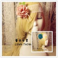 Fashion hand made white pink blue 3D flower elastic lace headband hair band headbands bridal wedding hair accessories for women