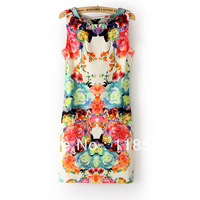 2013 summer women's fashion print sleeveless vest chiffon one-piece dress