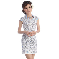 Cheongsam dress summer 2013 fashion chinese style embroidered low collar formal dress 001