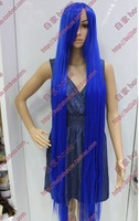 Free shipping 2013 the new wig Cosplay wig 1 meters 5 long navy blue long straight hair wig cos lengthen
