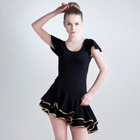 Conny Latin skirt dance the anteroposterior o-neck long-sleeve Latin dance one-piece dress Latin dance one-piece dress adult