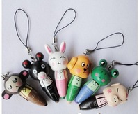 Fashion mobile phone cartoon animals with pen/ball pen accessories/mobile phone chain 10pcs/lot  15