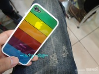 Free shipping  100pcs/lot  Rainbow Colorful Case Cover For Apple iPhone 4 4G 4S Soft TPU   wholesale