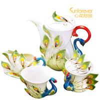 Ceramic embossed tea set gift box set porcelain flange lang law porcelain