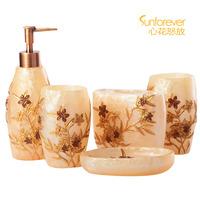 Cassina gold fashion five pieces bathroom set bathroom supplies kit