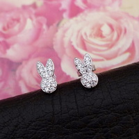 S925 pure silver small rabbit full rhinestone bling fashion stud earring girls gift