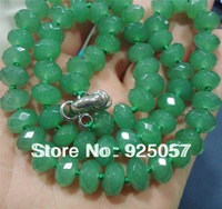 "6x10mm Green Faceted Emerald Necklace 18""Fashion jewelry"