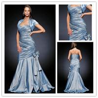 Newest sweetheart floor length beaded blue taffeta mermaid mother of the bride dresses with short sleeve jacket