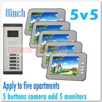 Multi-unit 8inch color video door phone intercom systems/Door bells for 5 apartments/Villas (5 keys camera add 5 monitors)