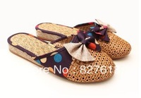free shipping slippers Women linen slippers derlook bow sandals fashion female drag ultralarge models slippers