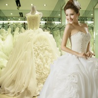 Free Shipping Real Sample High Quality Strapless Pearls Beaded Ruched Long Train Ball Gown The Wedding Dress 2013 New CH2416
