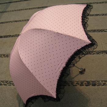 2014 Fashion Folding Umbrellas Super sun vinyl lace sun protection  apollos small polka dot    FREE SHIPPING