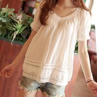 Новый стиль женщин кружева пэчворк блузки рубашки стиле мыс шифоновые рубашки случайным строчки леди одежда ws007