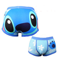 1pcs new hot Sexy Trouser Cotton Cartoon  Mens  men Underwear  boxer shorts  blue Stitch size L- XL