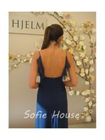 Sexy v neck backless spaghetti straps ruffled navy blue chiffon a line evening party prom graduation dresses