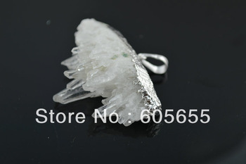 Semi-precious stone Natural Drusy Crystal Rough Pendant for Fashion Jewerly 10 pc per lot Free Ship