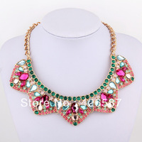 colorful trigonal  multi color gold filled chunky choker statement collar bib necklace 2013 fashion brand jewelry