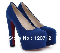 14cm new brand Europe and american wind ultra high heels royal blue pumps thick  platform red bottoms club for women's shoes