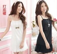 subcoat dress medium-long gauze lace slip vest basic cotton suspender  nightgown pajamas