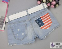 summer new arrival women's fasion denim shorts America flag denim shorts