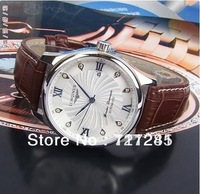 Hot sell High quality Auto Mechanical hand wind Men's watch,diamond hand clock,leather watch belt,brand wrist watch free ship