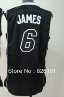 Free shipping Miami #6 Lebron James jersey, Embroidery logos men's basketball jerseys,Size44-56.