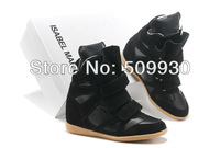 2013 Hot Isabel Marant Wedges Sneakers Women Shoes Height Increasing Fashion Boots Genuine Brand black