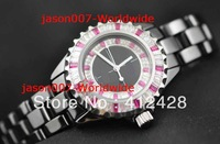 New CHRONO Luxury Fashion 33mm Diamond Ruby Ladies Ceramic Quartz Wristwatch Dive Sport Women's Watches High Quality Watches