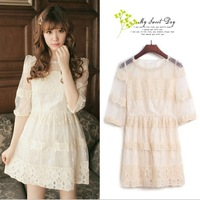 Korean version of sweet lace crochet perspective organza dress