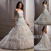 Luxury Chapel Train Corset Strapless Lace Tiered A Line Sash Crystal Decorations Wedding Dresses Bridal Gowns