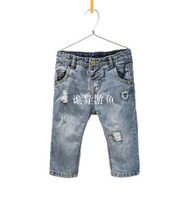 Free Shipping spring summer kids clothes denim pants for children trousers boys girls hole Distrressed jeans